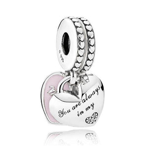 925 Sterling Silver Pink Enamel Mom and Daughter Heart SET Pandora Compatible Dangle Charm
