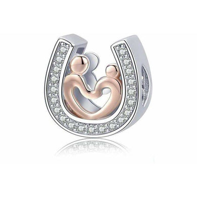 925 Sterling Silver Rose Gold and Silver Mother and Child Pandora Compatible Charm