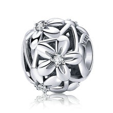 925 Sterling Silver Daisy Flower Ball Pandora Compatible Bead Charm