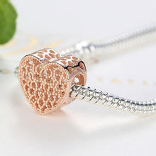Load image into Gallery viewer, 925 Sterling Silver Rose Gold-Colour openwork Heart Pandora Compatible Charm