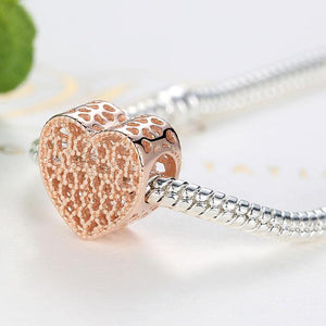 925 Sterling Silver Rose Gold-Colour openwork Heart Pandora Compatible Charm