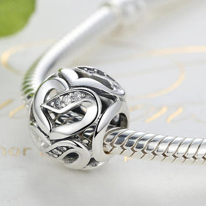 925 STERLING SILVER Hollow Heart Charm