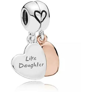 925 Sterling Silver Rose Gold PLATED Like Mother Like Daughter Hearts Pandora Compatible Dangle Charm