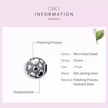 Load image into Gallery viewer, 925 Sterling Silver Retro Heart Pandora Compatible Charm
