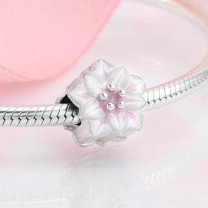 925 Sterling Silver Pink and White Flower Pandora Compatible Dangle Charm