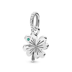 925 Sterling Silver Four Leaf Clover Pandora Compatible Dangle Charm