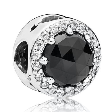 925 STERLING SILVER Black Glass  Pandora Compatible Charm
