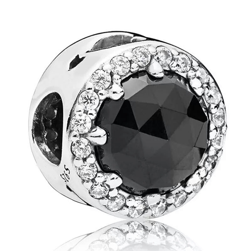 925 Sterling Silver Black Glass Pandora Compatible Bead Charm