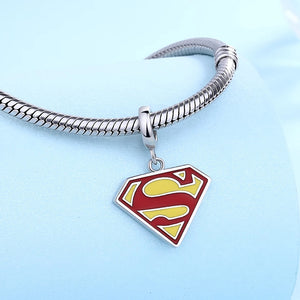 925 Sterling Silver Superman Pandora Compatible Dangle Charm