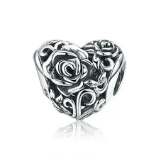 Load image into Gallery viewer, 925 Sterling Silver Flower Patterned Heart Pandora Compatible Bead Charm