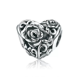 925 Sterling Silver Flower Patterned Heart Pandora Compatible Bead Charm