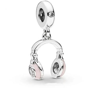 925 Sterling Silver Pink Enamel Headphones Pandora Compatible Dangle Charm