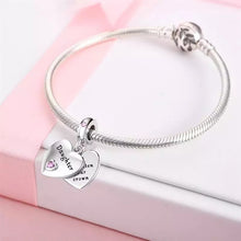 Load image into Gallery viewer, 925 Sterling Silver Daughter Hearts Pandora Compatible Dangle Charm