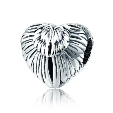925 Sterling Silver ANGEL WING HEART Pandora Compatible Charm