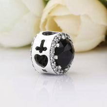 Load image into Gallery viewer, 925 Sterling Silver Black Glass Pandora Compatible Bead Charm