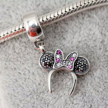 Load image into Gallery viewer, 925 Sterling Silver Black CZ Minnie Mouse Headband Pandora Compatible Dangle Charm
