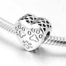 Load image into Gallery viewer, 925 Sterling Silver Paw Prints Heart Pandora Compatible Bead Charm