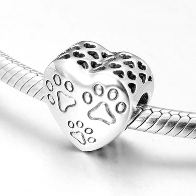 925 Sterling Silver Paw Prints Heart Pandora Compatible Bead Charm