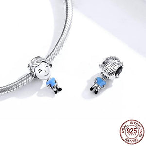 925 Sterling Silver Dad Blue Shirt Pandora Compatible Bead Charm