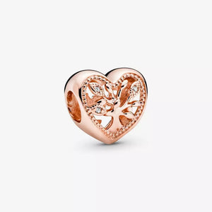 Rose Gold PLATED Openwork Family Tree Heart Pandora Compatible Bead Charm