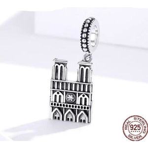 925 Sterling Silver Notre Dame Cathedral Pandora Compatible Dangle Charm