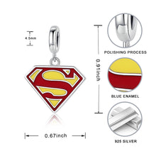 Load image into Gallery viewer, 925 Sterling Silver Superman Pandora Compatible Dangle Charm