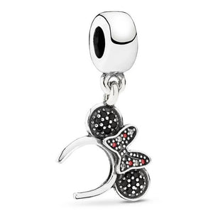 925 Sterling Silver Black CZ Minnie Mouse Headband Pandora Compatible Dangle Charm