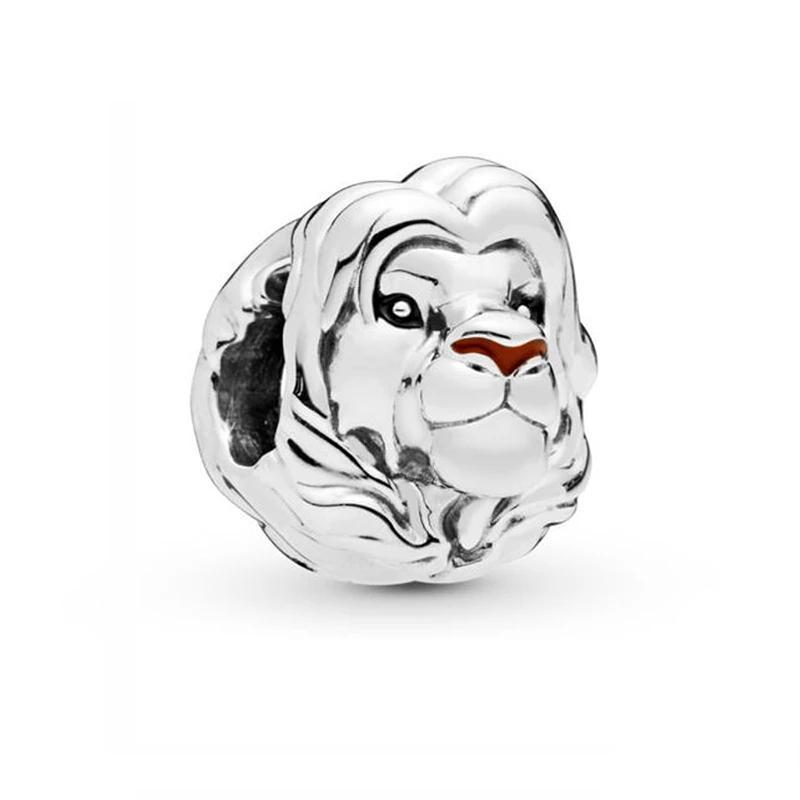 925 Sterling Silver Lion King Head Pandora Compatible Bead Charm
