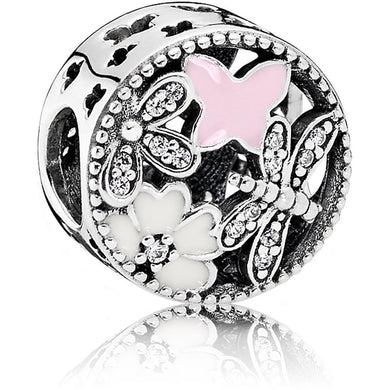 925 Sterling Silver CZ Pink and White Enamel Spring Pandora Compatible Bead Charm