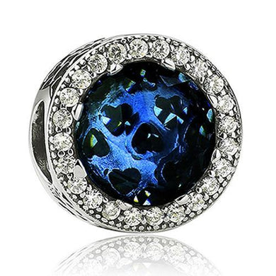 925 Sterling Silver CZ Blue Glass Heart Patterned Pandora Compatible Bead Charm