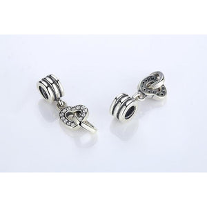 925 Sterling Silver CZ Link to my Heart Pandora Compatible Dangle Charm