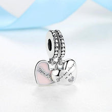 Load image into Gallery viewer, 925 Sterling Silver Pink Enamel Mom and Daughter Heart SET Pandora Compatible Dangle Charm