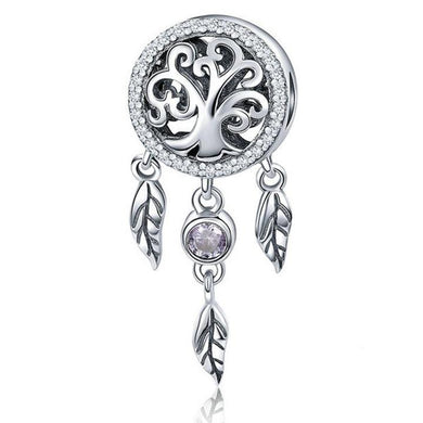 925 Sterling Silver Tree of Life Dream Catcher Pandora Compatible Bead Charm