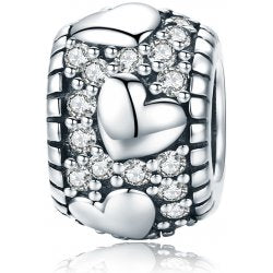 925 Sterling Silver Dazzling CZ Heart Patterned Pandora Compatible Bead Charm