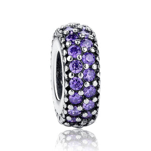 925 Sterling Silver Dazzling Purple CZ Pandora Compatible Spacer