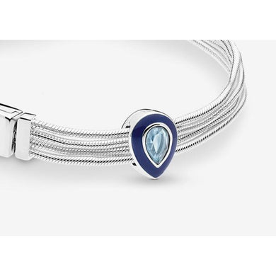 925 Sterling Silver Blue Teardrop Reflexion Pandora Compatible Charm