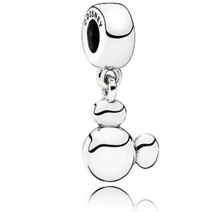 925 Sterling Silver Solid Mickey Ears Pandora Compatible Dangle Charm