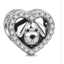 Load image into Gallery viewer, 925 Sterling Silver CZ Dog in my Heart Pandora Compatible Bead Charm