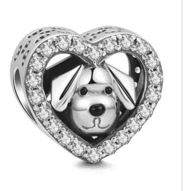 925 Sterling Silver CZ Dog in my Heart Pandora Compatible Bead Charm