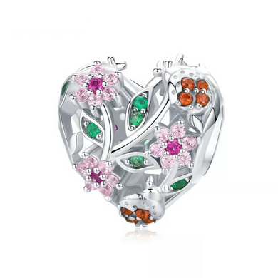 925 STERLING SILVER CZ Garden Heart Pandora Compatible Charm