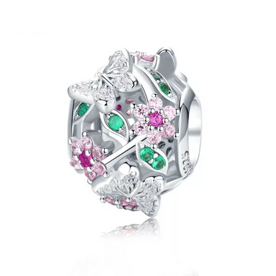 925 STERLING SILVER CZ Garden Pandora Compatible Charm