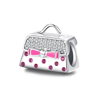 925 STERLING SILVER Handbag with pink CZ Pandora Compatible Charm