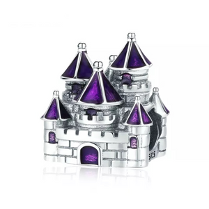 925 Sterling Silver Purple Castle Pandora Compatible Bead Charm