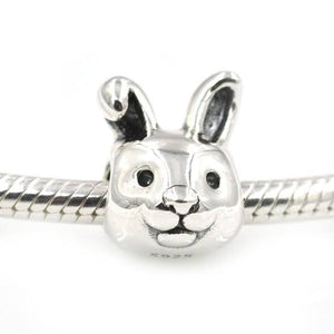 925 Sterling Silver Rabbit Face Pandora Compatible Bead Charm