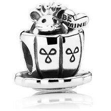 Load image into Gallery viewer, 925 Sterling Silver Be Mine Mouse in a Teacup Pandora Compatible Bead Charm