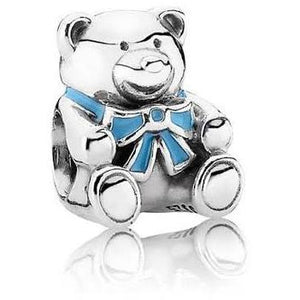925 Sterling Silver Boy Teddy Bear Blue Ribbon Pandora Compatible Bead Charm