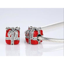 Load image into Gallery viewer, 925 Sterling Silver Red Enamel Christmas Gift CZ Ribbon Pandora Compatible Bead Charm