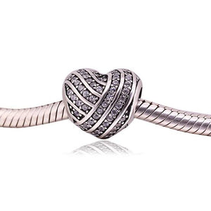 925 Sterling Silver Wrapped CZ Heart Pandora Compatible Bead Charm