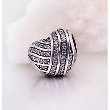 Load image into Gallery viewer, 925 Sterling Silver Wrapped CZ Heart Pandora Compatible Bead Charm