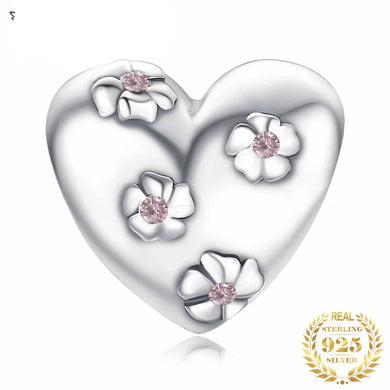 925 Sterling Silver Floral CZ Heart Pandora Compatible Bead Charm